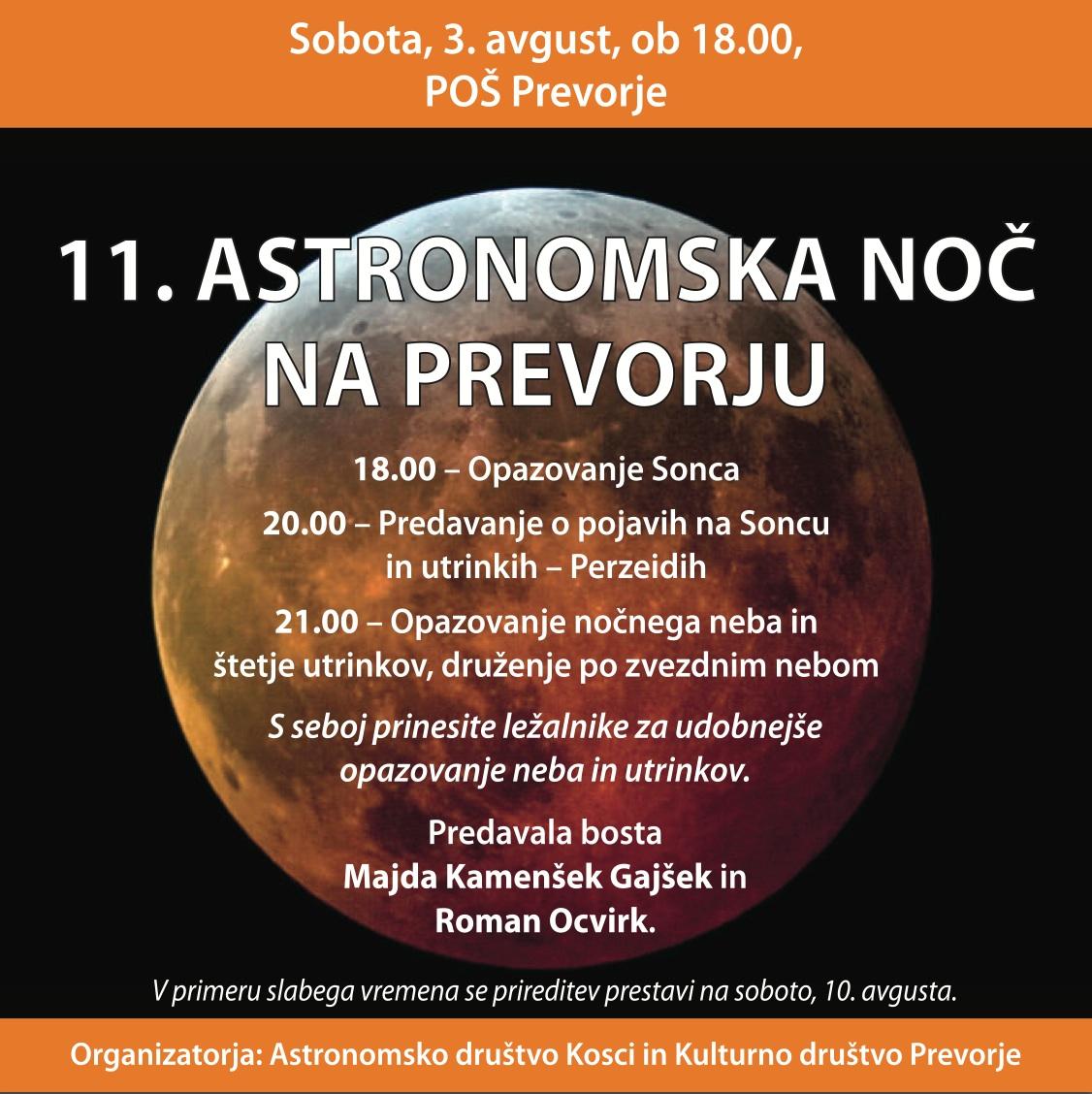 Program 11. Astronomske noči na Prevorju